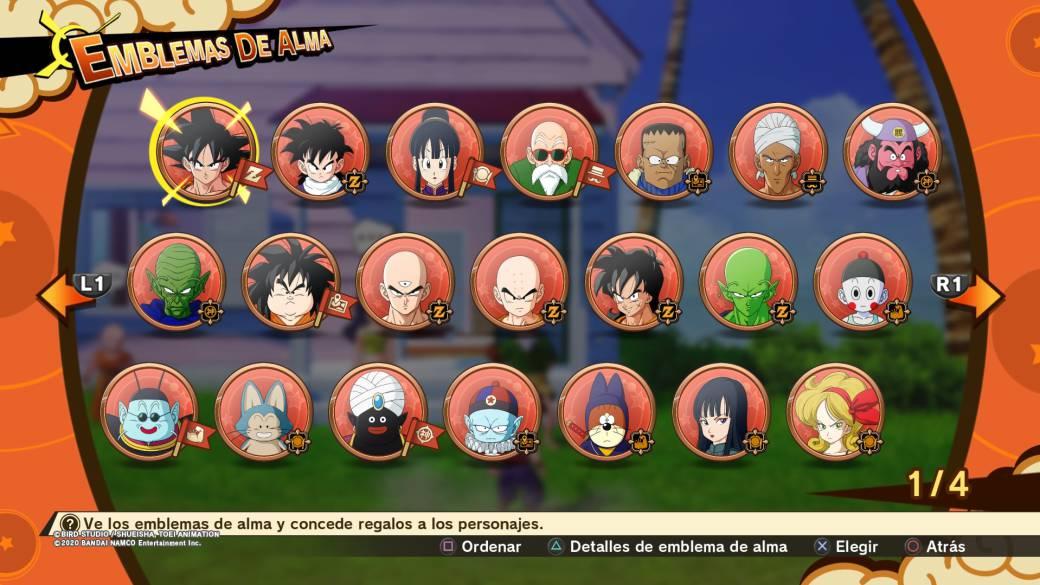 Pantalla de algunos de los emblemas de Dragon Ball Z Kakarot